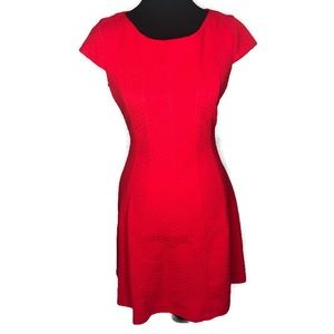 Taylor Sz 8 Above knee Red Dress. Cap Sleeve